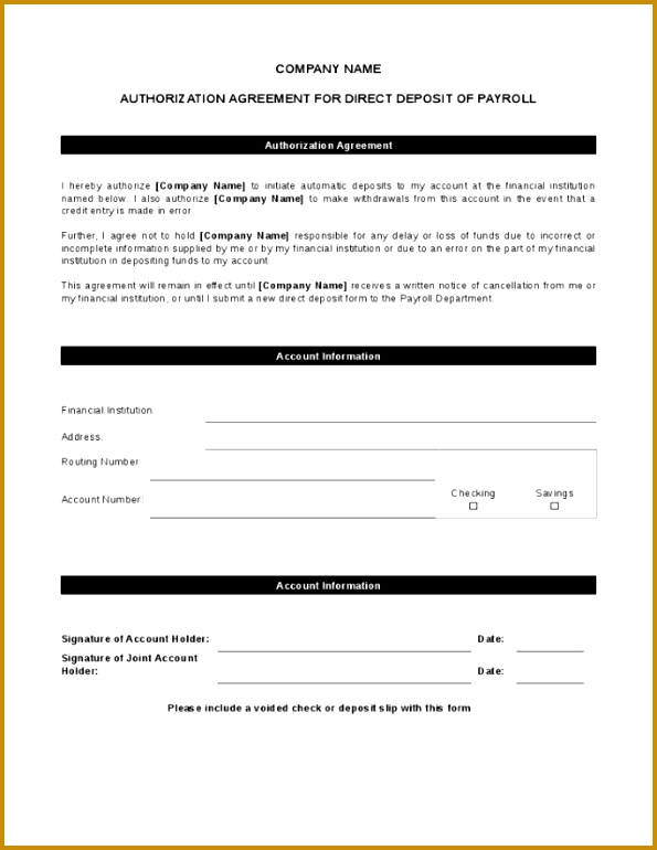 Payroll Direct Deposit Form Template 595770