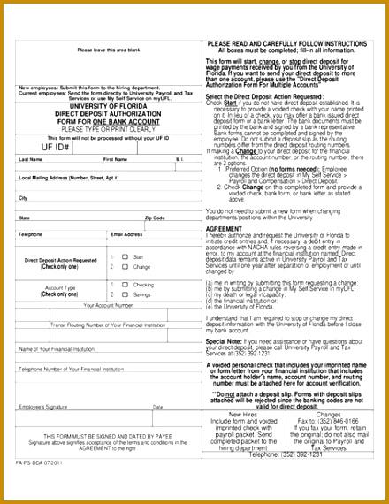 direct deposit authorization form for one bank account university letter Home Design Idea Pinterest 570440