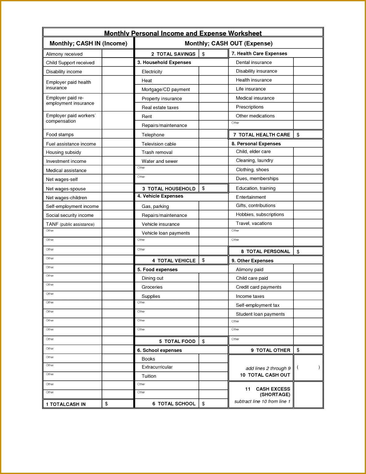 Personal Financial Balance Sheet Template 15341185
