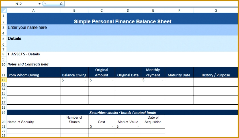 Simple Personal Finance Balance Sheet Template 839484