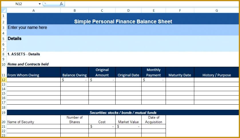 Simple Personal Finance Balance Sheet Template 839484