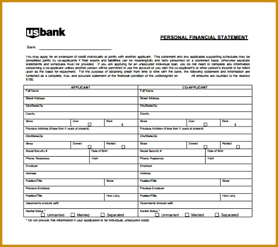 ... Personal Financial Statements Templates 42521 6 Free Personal Financial  Statement Template ...
