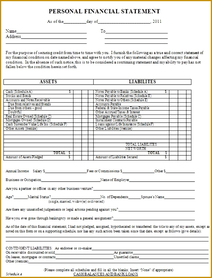 40 Personal Financial Statement Templates & Forms Template Lab with regard to Personal 952725