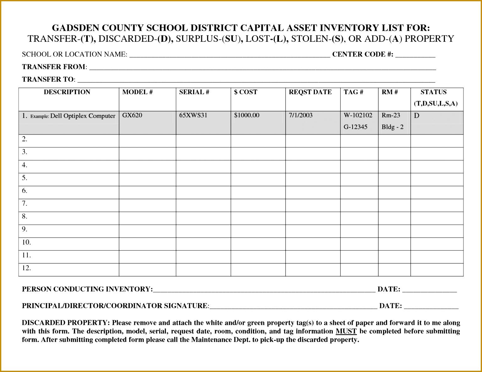 5 Personal Property Inventory List Template Fabtemplatez