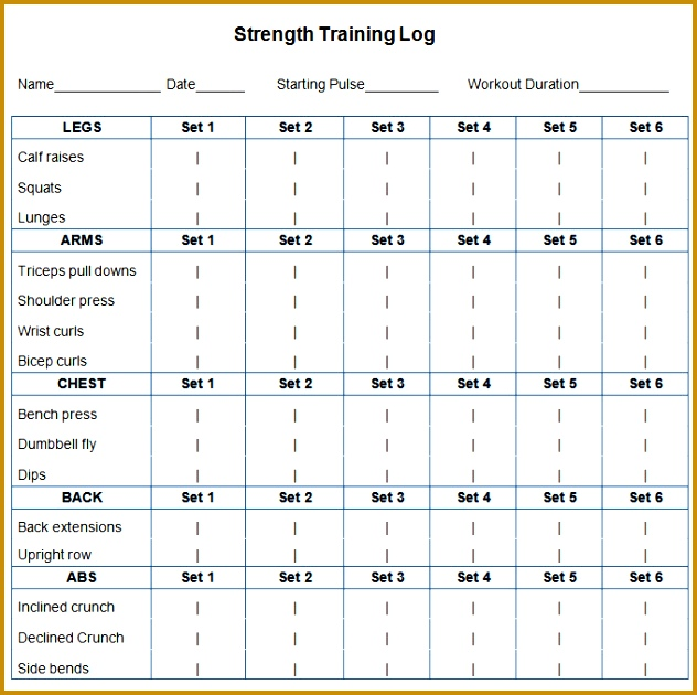 Workout Schedule Template 630632