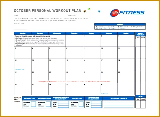 Persnol Workout Plan Schedule Template 544399