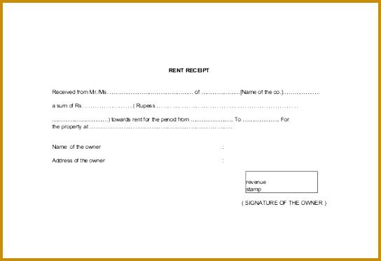 Free PDF Generic Rent Receipt Template 544372