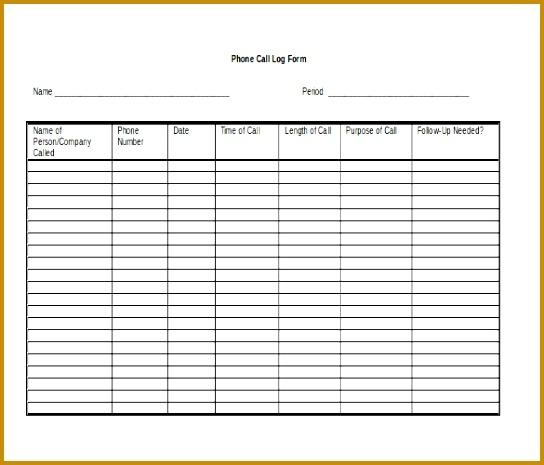 Call Log Template MS Word File 465544
