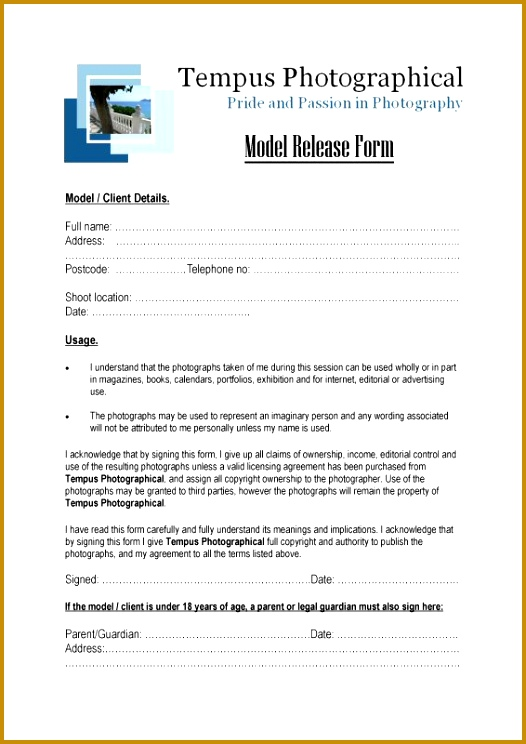 3 Photographer Copyright Release form Template