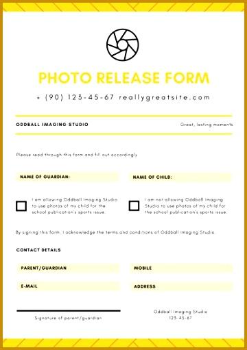 Yellow Shutter Stripes Release Form Permission Slip Letters 511360