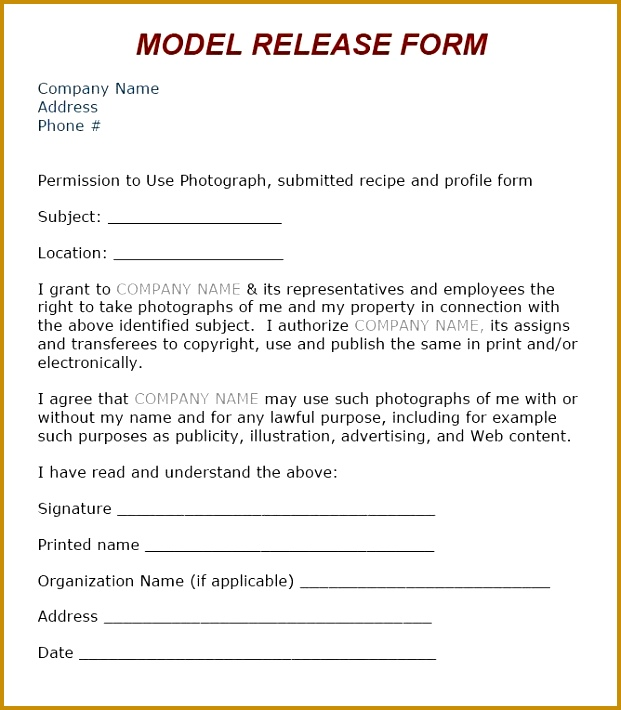 6 Photographic Release form Template