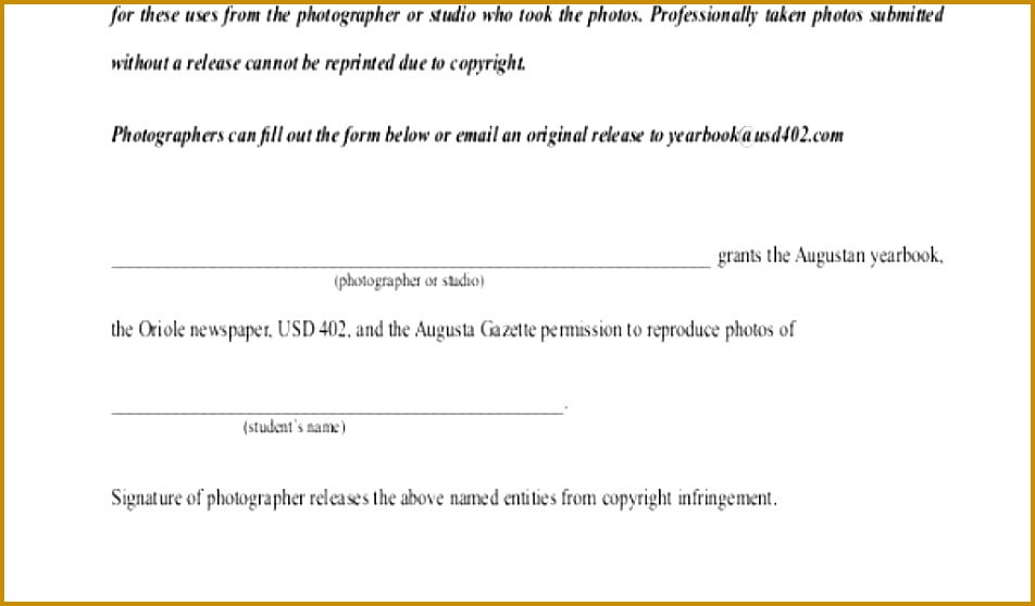 Copyright Release Form Template Sample graphy Release 952558