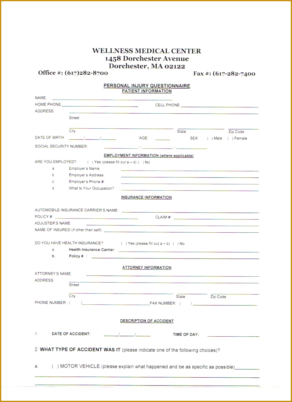 6 Physical Therapy Intake Form Template Fabtemplatez