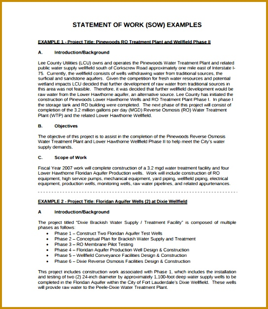 Sample Statement Work Template 11 Free Documents Download In Pdf 628544