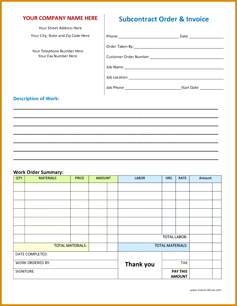 Business Order Templates Works Order Template Objective For 3 Free Work Order Template Obituary 11 Best s Form Templates Inv Forms For Plumbing 1256974