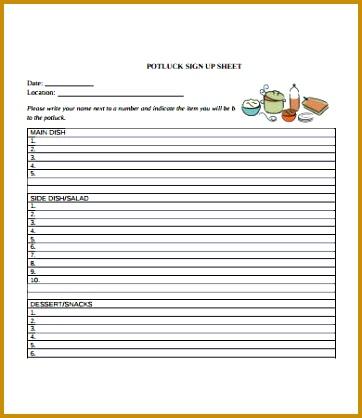 Free Potluck Signup Sheet Template 418362