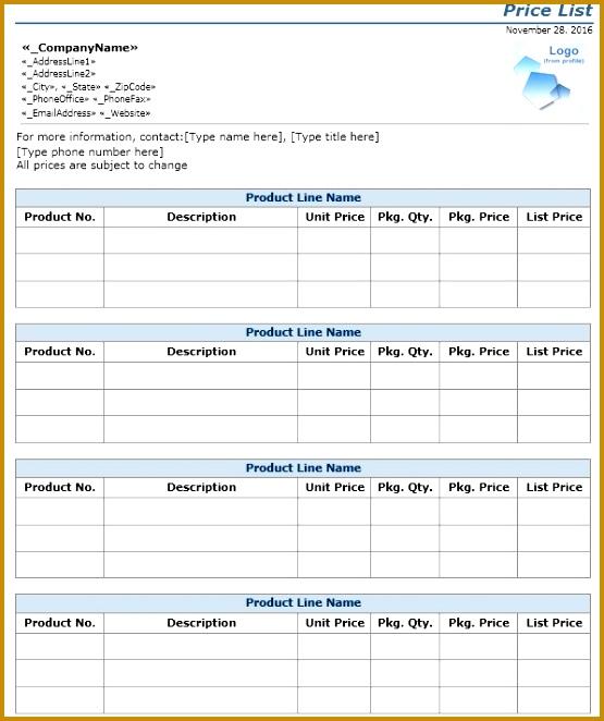 Price Sheet Template 662555