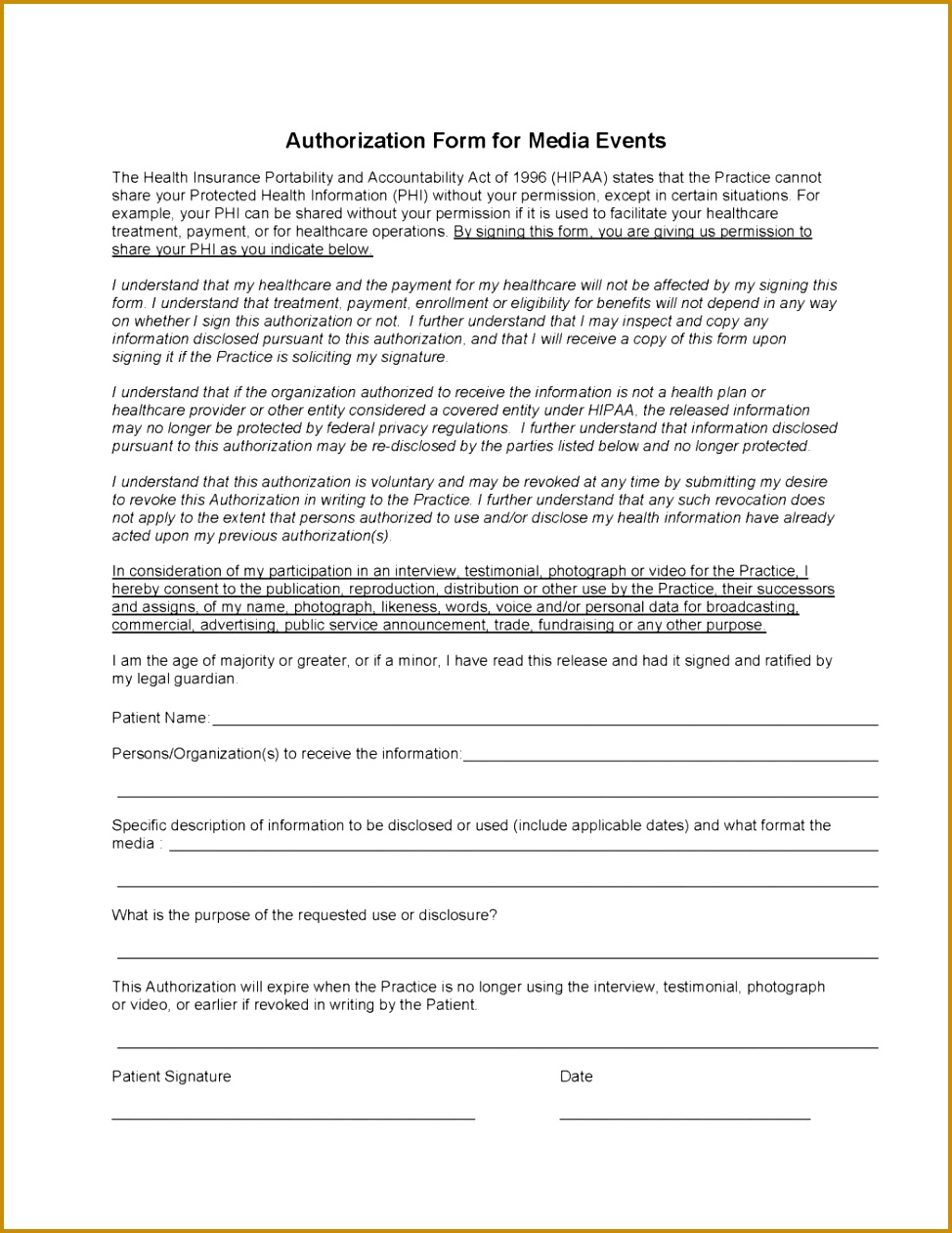 3 Privacy Release Form Template Fabtemplatez