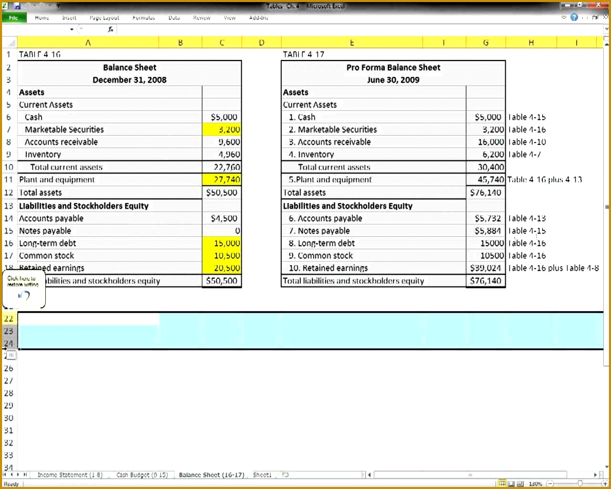 pro forma template excel