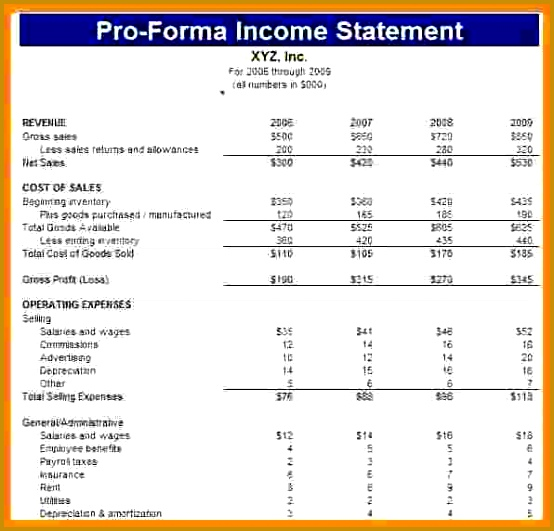 pro forma financial statements template proforma in e statement sheet 531554
