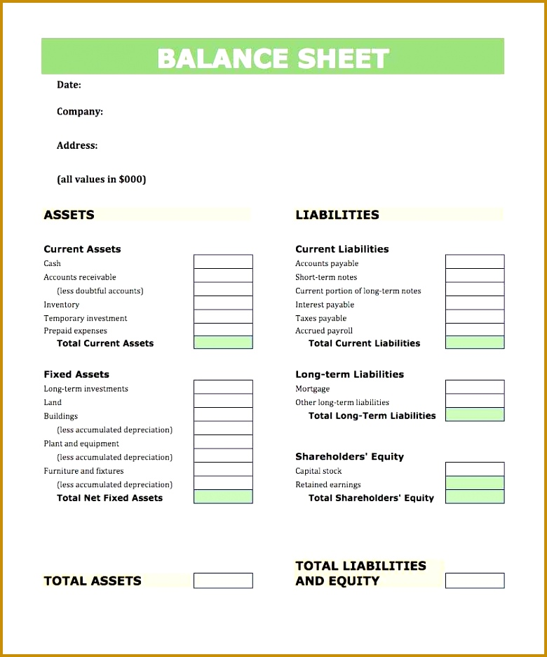 Pro Forma Balance Sheet Template Excel: 7 Pro Forma Financial Statements Template Excel