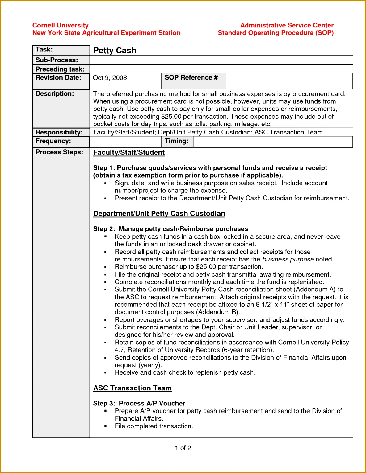 Unusual Process And Procedure Template Ideas - Entry Level Resume ...