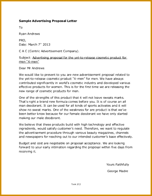 Product Proposal Letter Free Download Sales Proposal Template 779604