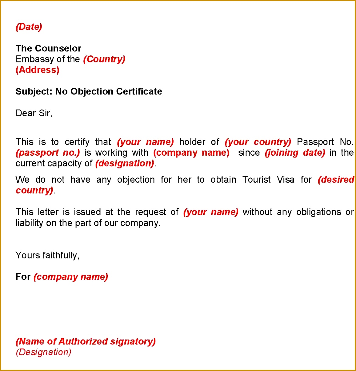 No objection letter format from husband images letter samples format no objection letter format from husband 11731225