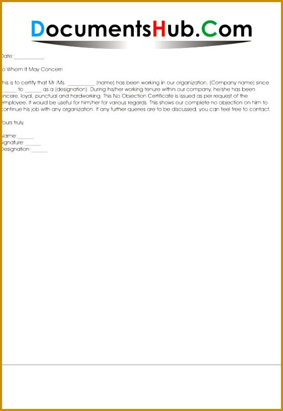 NOC Letter Format for Job Change 805554