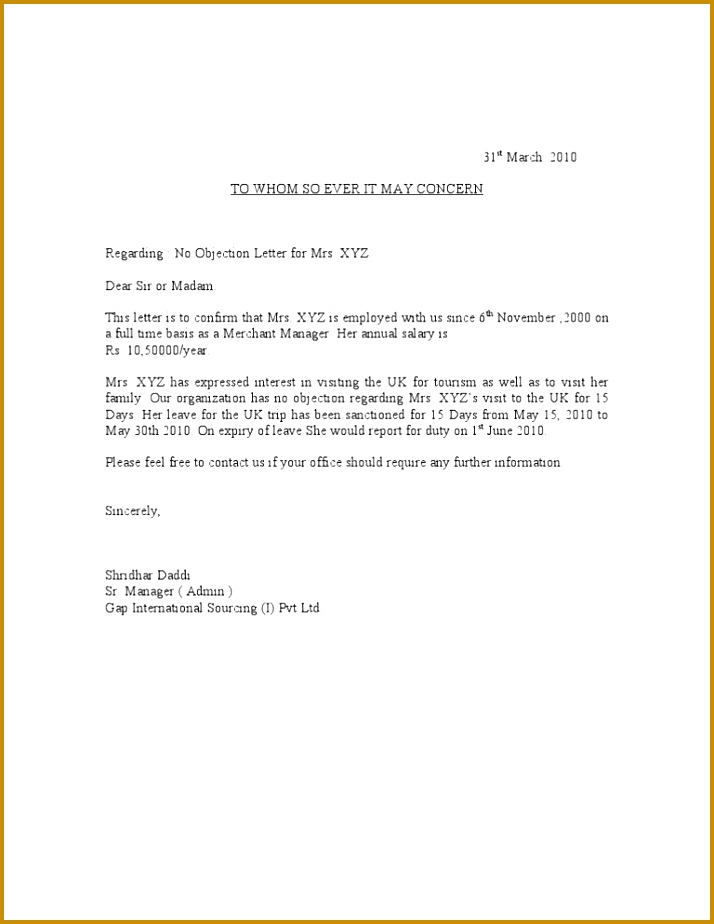 Sample No Objection Letter Certificate Noc[1] 924714