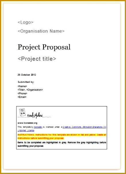 5 project proposal template word 2010
