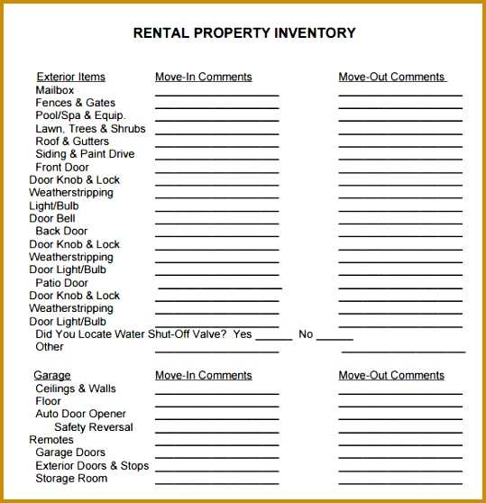 Rental Property Inventory Template 558539