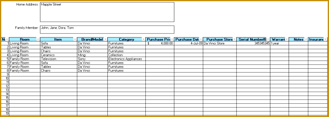 Home Inventory Sheet Template 3911093