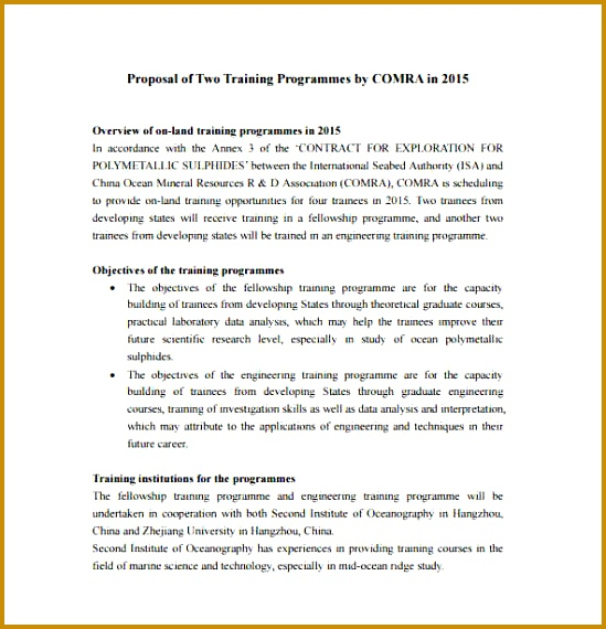 7 proposal for training program template