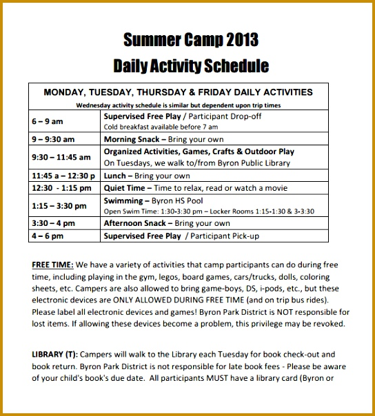 Summer Camp Daily Activity Schedule Template PDF Format 604544