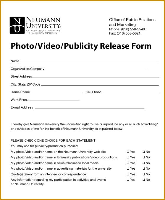 Publicity Release Form Template  Fabtemplatez  Fabtemplatez