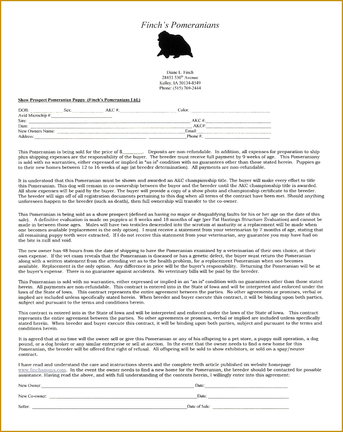 Excellent Puppy Sale Contract Template Gallery Resume
