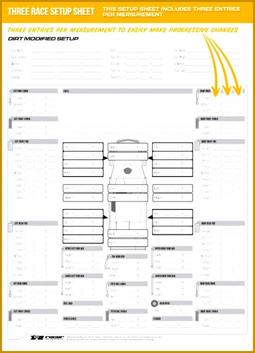 4 race car setup sheet template