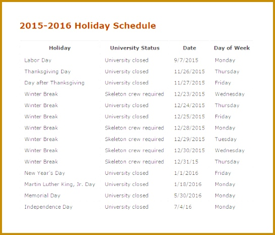 Printable 2015 2016 Holiday Schedule 465544