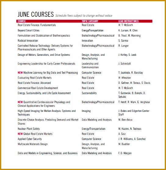 Short Program Course Schedule Template Free Download 544558