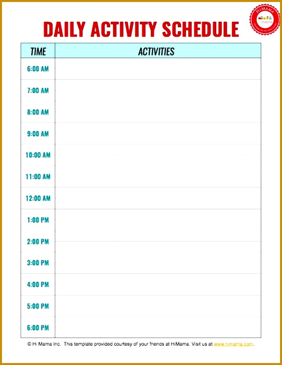 Daycare Daily Schedule Template 736569