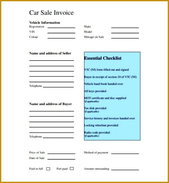 7 Receipt for Down Payment On Used Car | FabTemplatez
