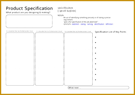 Product Specification Worksheet 329465