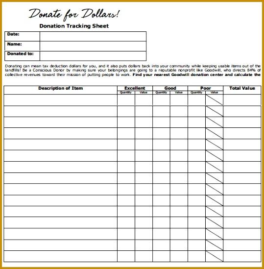 Donation Tracking Sheet Itemized Donations Form Itemized Donations Form 549539
