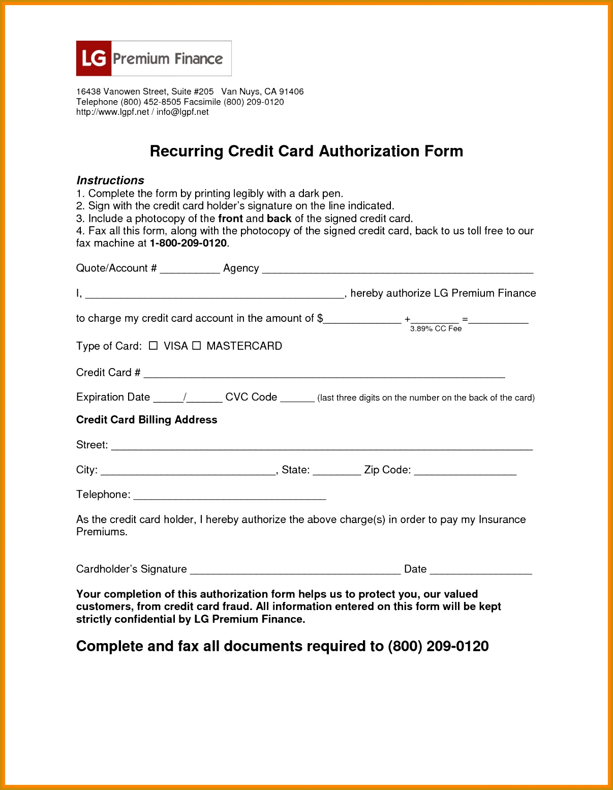 7 recurring credit card authorization form 15541206