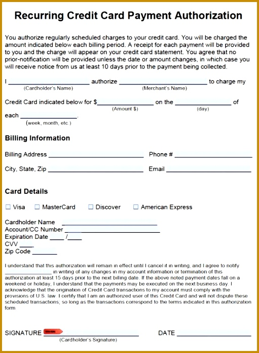 Free Recurring Credit Card Payment Authorization Form PDF Word 696511