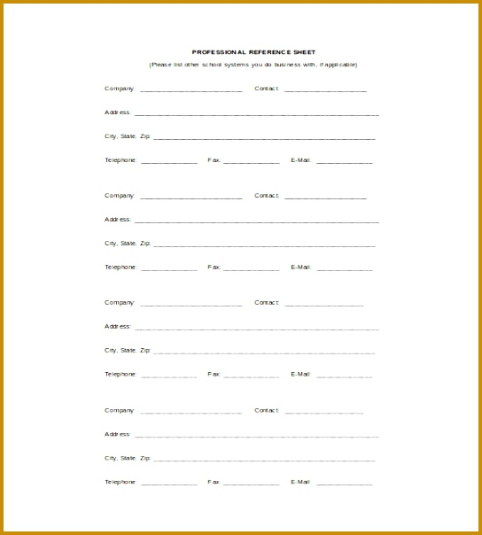 Proffesional Reference Sheet Word Template Free Download 604544
