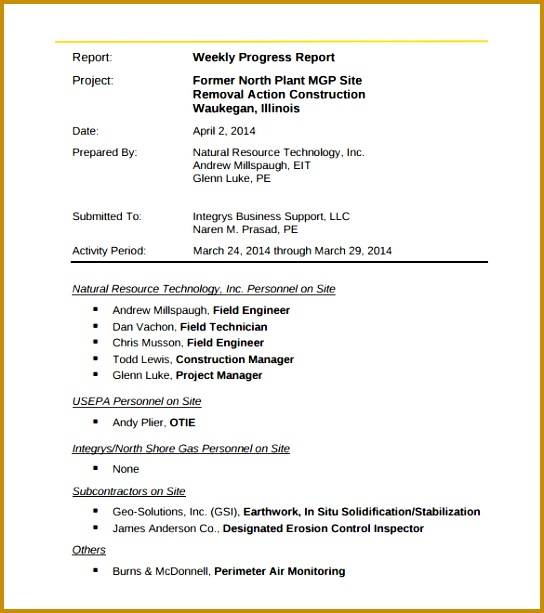 Engineering Weekly Activity Report Template PDF Printable 613544