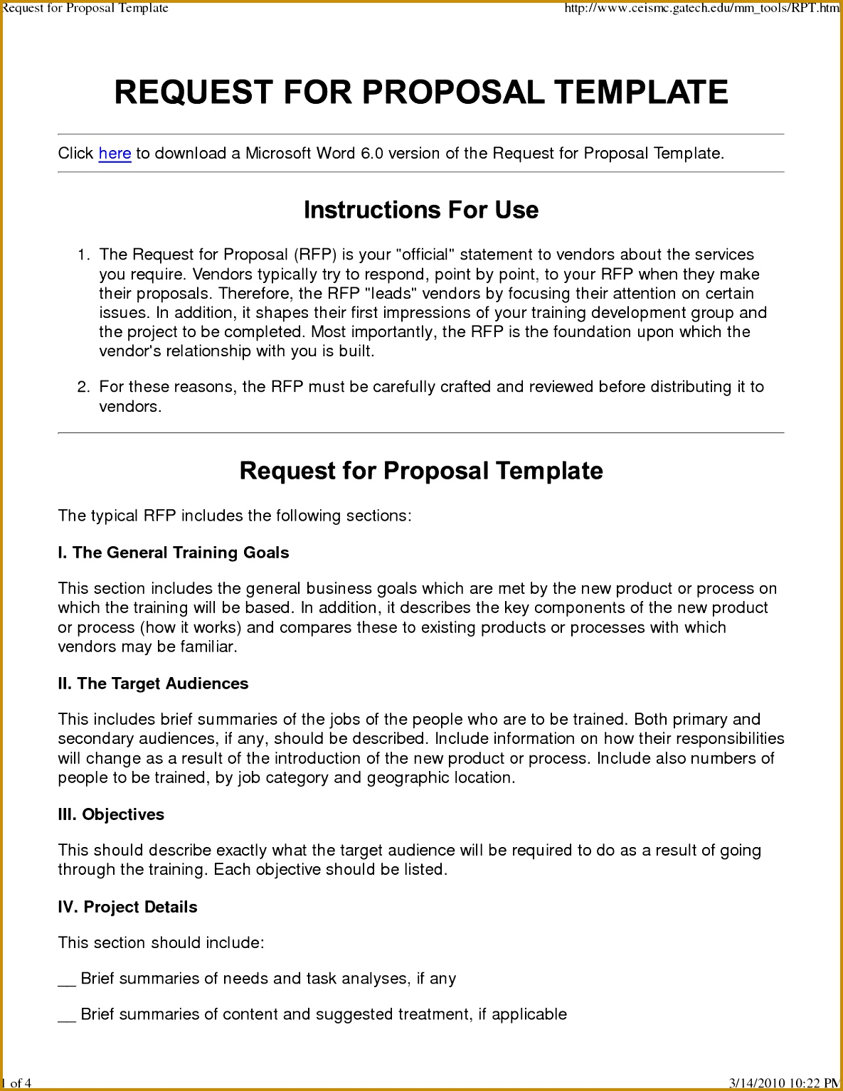 Request for Proposal RFP Template 11851534