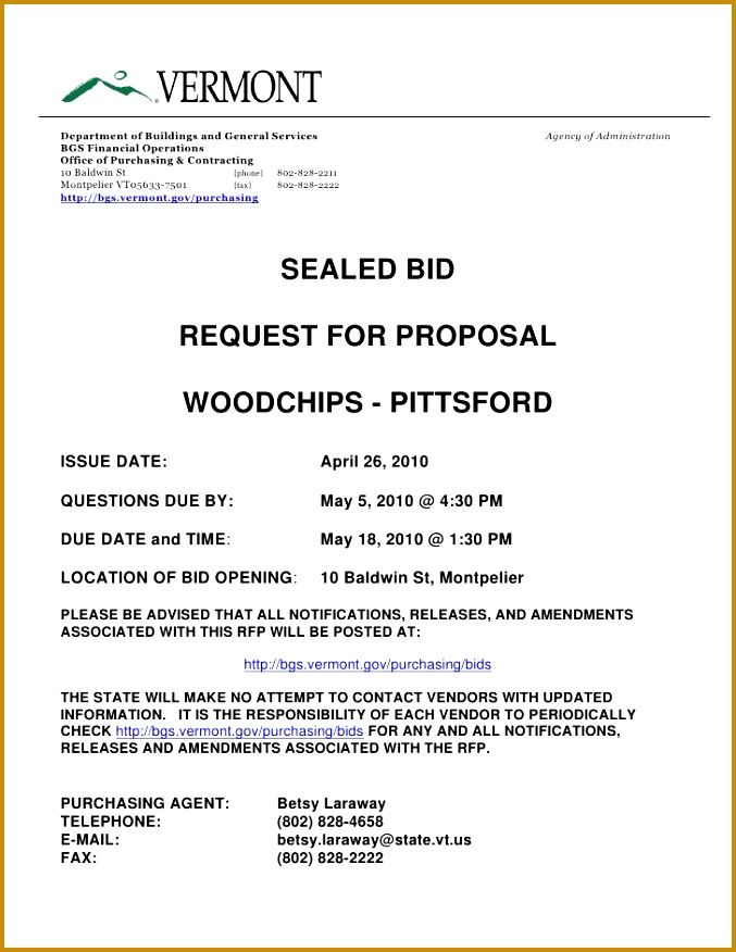 SEALED BID REQUEST FOR PROPOSAL Department of Buildings and General Services Agency of Administration 876677